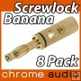Screwlock 24k Gold Banana Plug 8 Pack